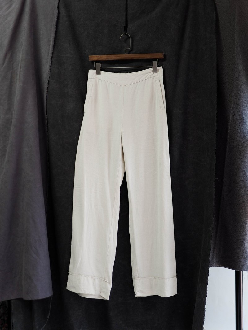 Pure rice white wide folding hem gently spring love girl antique cotton linen soft cloth pro comfortable wide pants pants