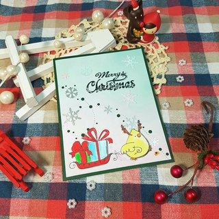 Christmas card (greeting card) - handmade card Christmas chick