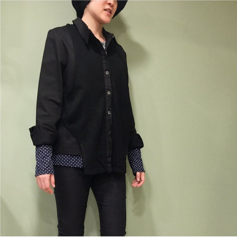 [Shirt] fake two-piece shirt / cover - black