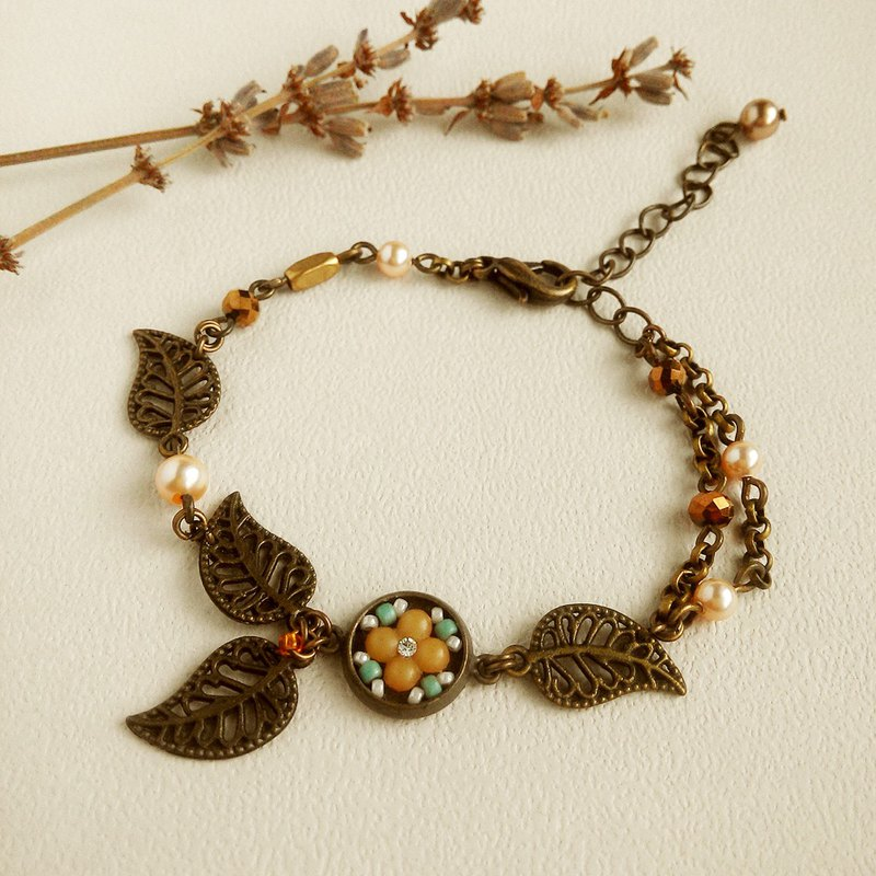 Deco tiles bracelet MAJOLICA orange mosaic vintage style nature leaf flower