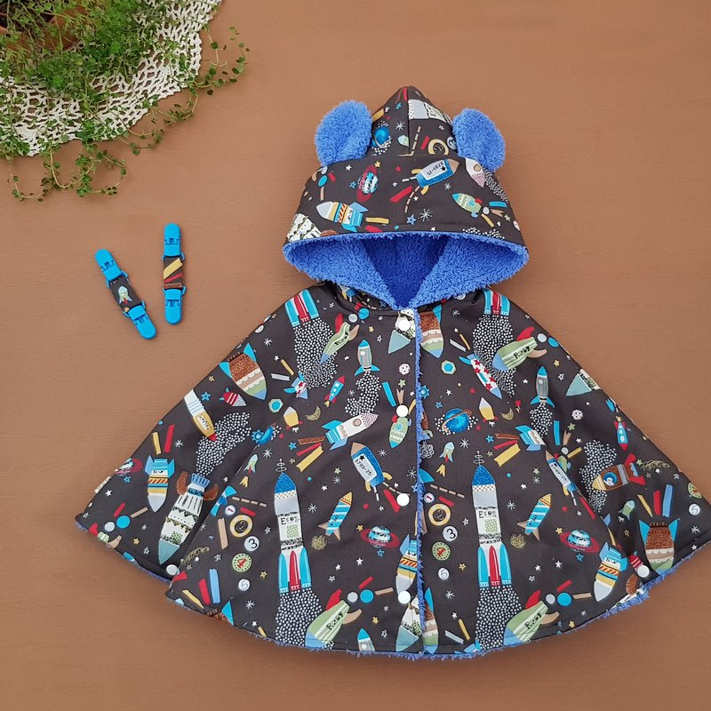 Japanese thick cotton space rocket with sapphire plush double-sided wearing cape with double-headed clip can be used as a scarf cape