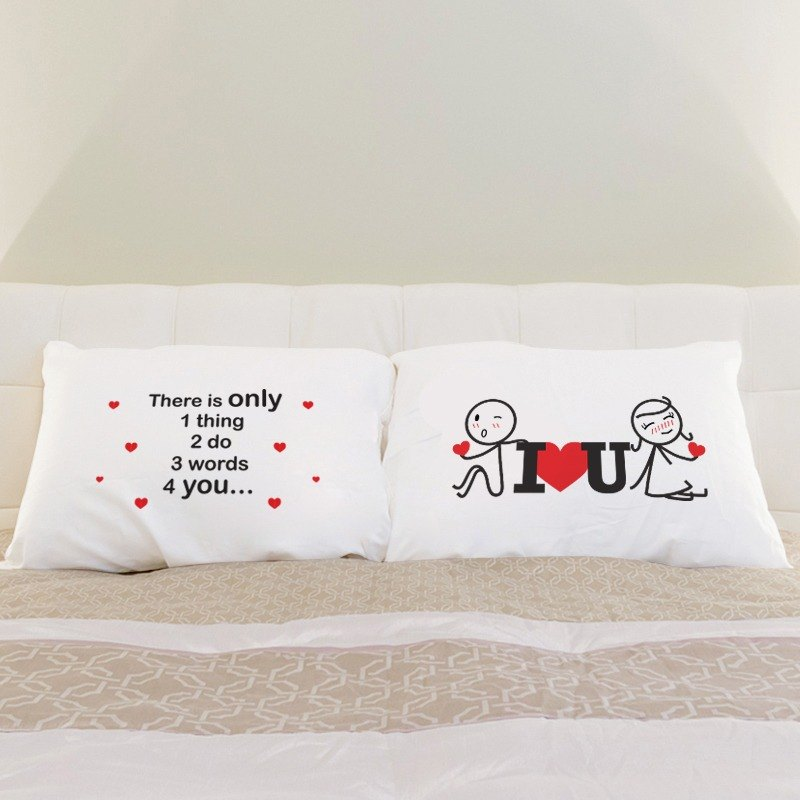 Lean on I Love You White Couple Pillowcases Set of 2