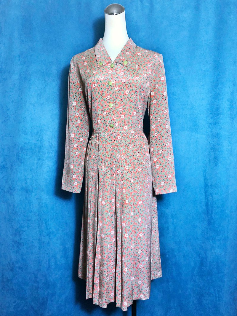 Green flowers long-sleeved vintage dress / abroad brought back VINTAGE