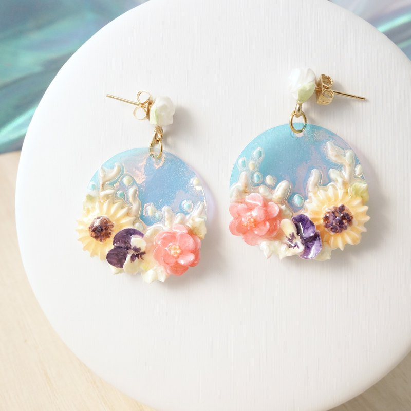Earrings/Clip on =The Crescent - Summer Twilight= Customizable