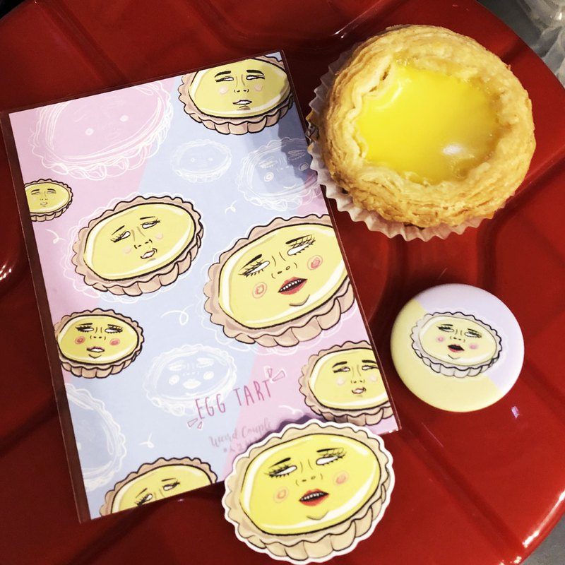 Hong Kong special egg tower egg tart set 1 set of 3 postcards plus badges plus waterproof stickers