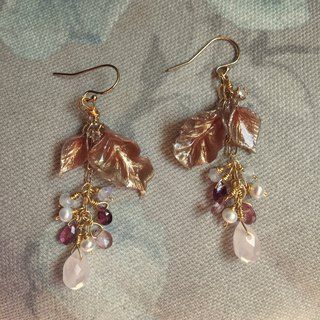 Handmade earrings pink natural stone earrings detachable wear