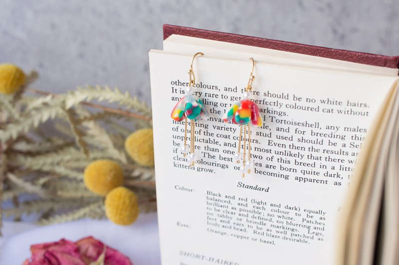 Temperament color resin flower pearl earrings gift