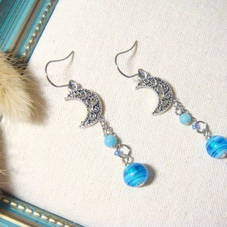 Grapefruit Forest Hand-colored Glass - Glass Earrings - Moon Shaped Curves - Light Blue (Chang-Jian Clip Style)