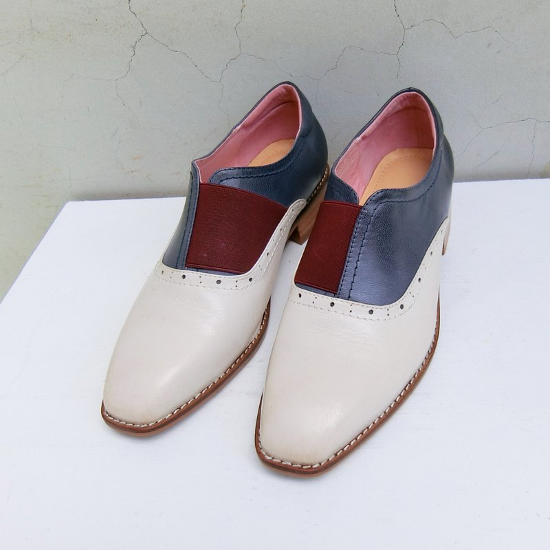 Small square head two-tone leather gentleman shoes || Kingsman's dream almond white || 8245