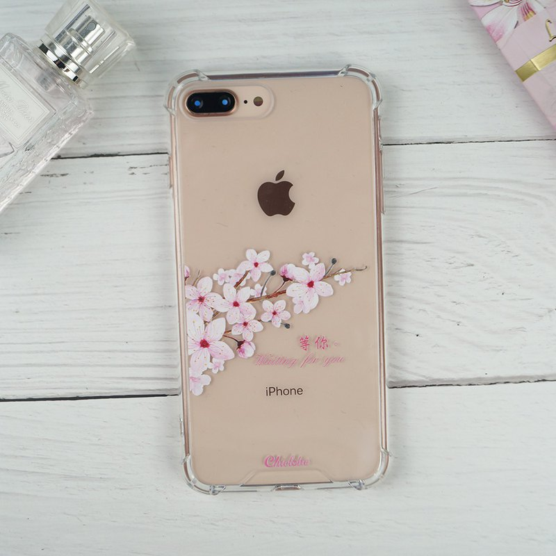 Painted four-corner shatter-resistant phone case-cherry blossom language