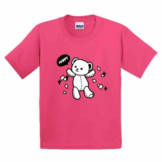 Painted T-shirts | Happy Bear | American cotton T-shirt | Kids | Family fitted | Gifts | painted | Pink