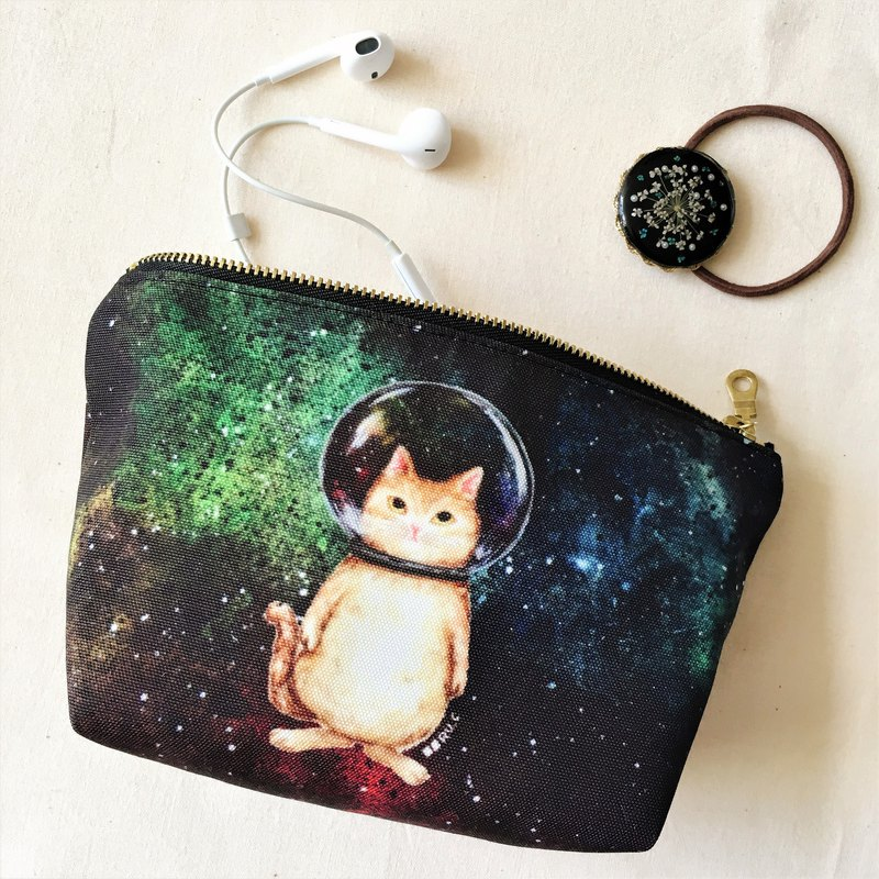 Glass ball cat cosmic cat cosmetic bag storage bag pencil case