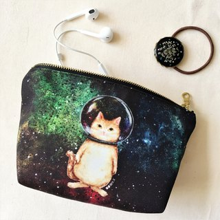 Storage bag Cosmetic bag Pencil*Glass ball cat*Space cat Star Universe
