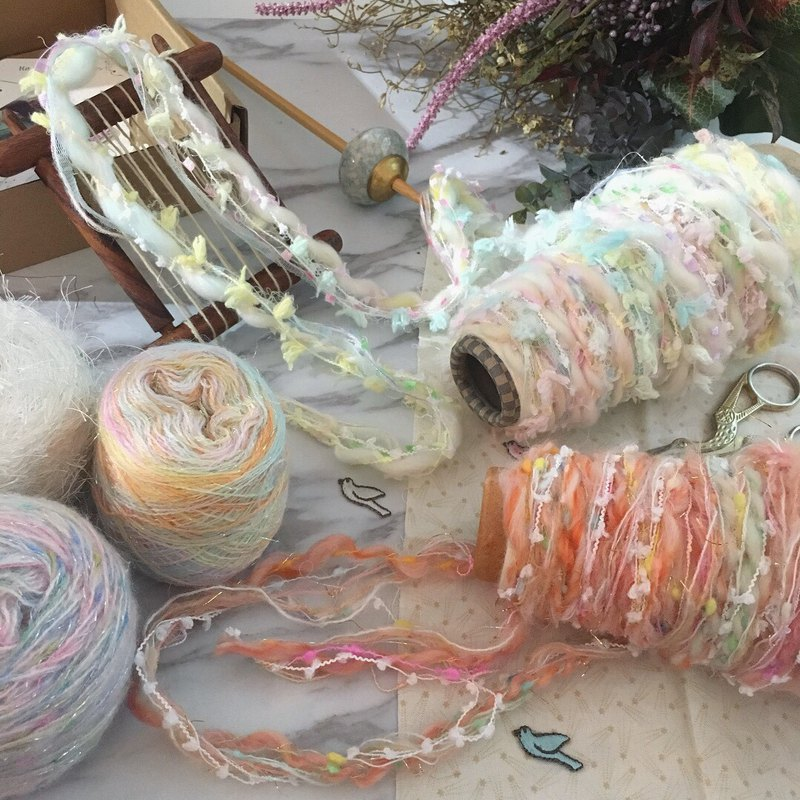 Limited edition cotton candy color hand-knitted wire material binding / hand made material / handmade material / hand thread line / wool