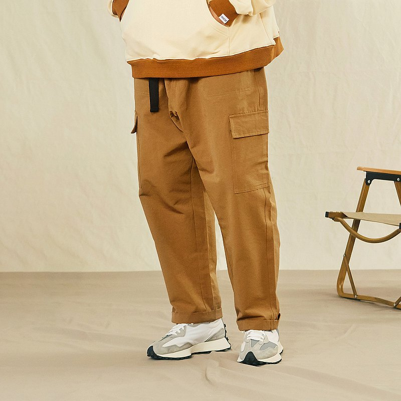 THREADESIGN Brushed Canvas Outdoor Simple Loose Casual Workwear Cropped Pants