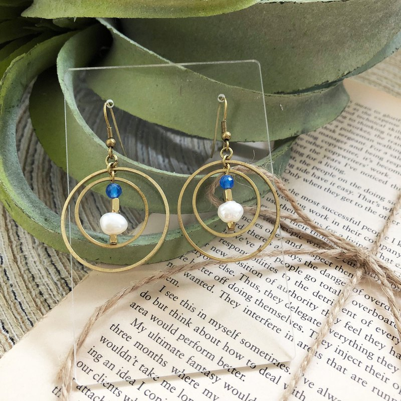 Brass Planet Freshwater Pearl Blue Agate Earrings with Changeable Ear Clip