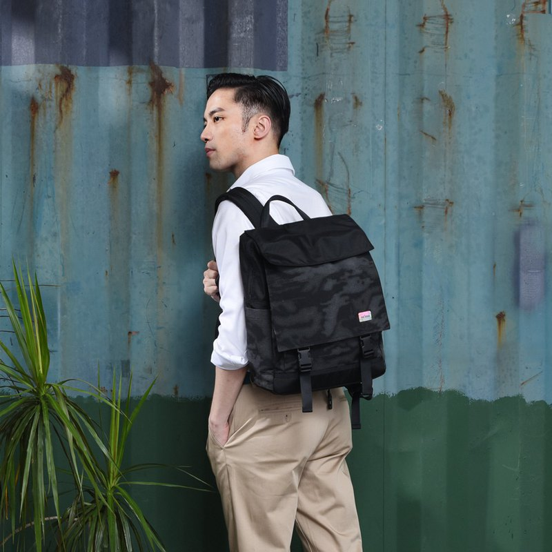Satana - Reflective Dual Cover Computer Backpack - Black Reflective Camouflage