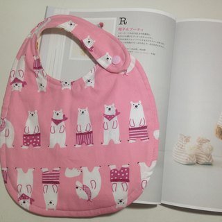 \ Summer new color / scarf bear (pink) double-sided bib