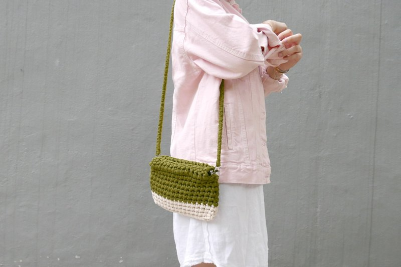 Duo Color Handbag, crochet, knit, handmade (Beige / Olive)