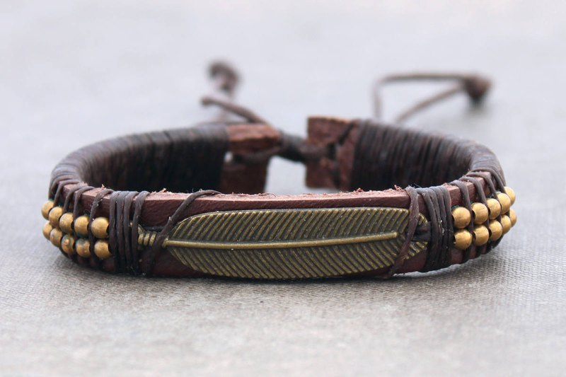 Leather Bracelets Beads Men Unisex Charm Brass Feather Brass Yoga