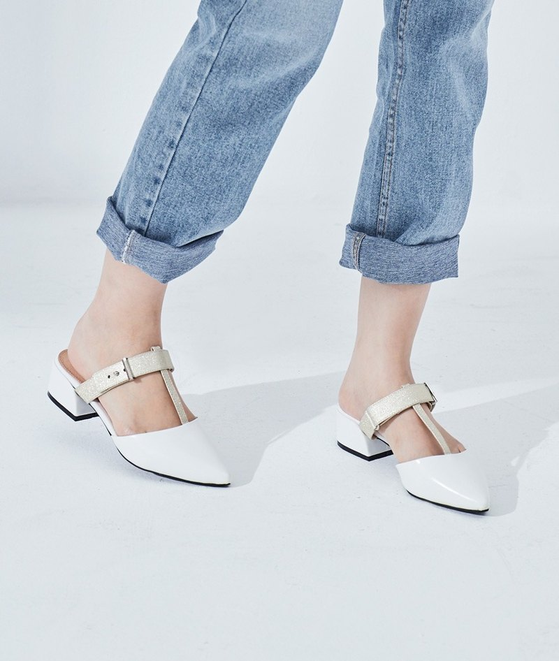 Limited time 40% off [Paris street corner] T-shaped two-color pointed head with Muller shoes _ white / fog gold