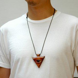 Wooden Third eye necklace Wood Pendant