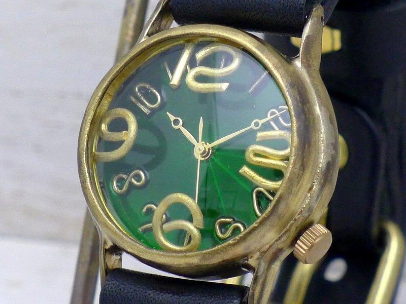 "214B GR"" On Time-B"" GR(綠色)錶盤男士黃銅手工手錶"