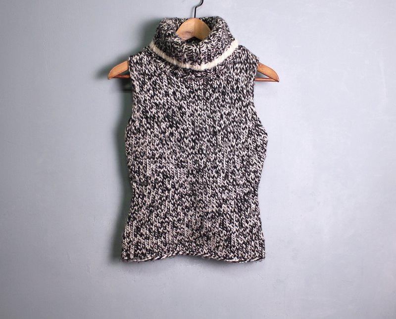 FOAK vintage thick snowflake high collar wool vest