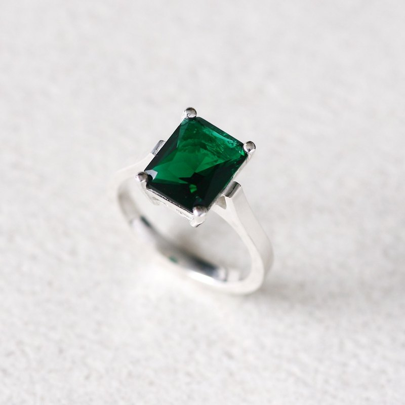 Emerald Square ring Silver 925