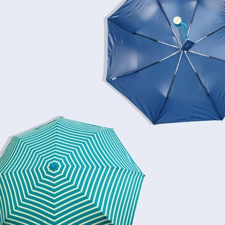 【Taiwan Wen Chong Rain's talk】 anti-summer play geometric anti-UV three fold hand umbrella blue stripes