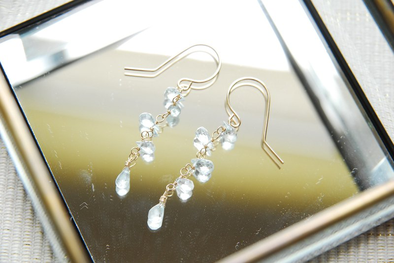 Aquamarine Drop Vertical Piercing Earrings 14kgf