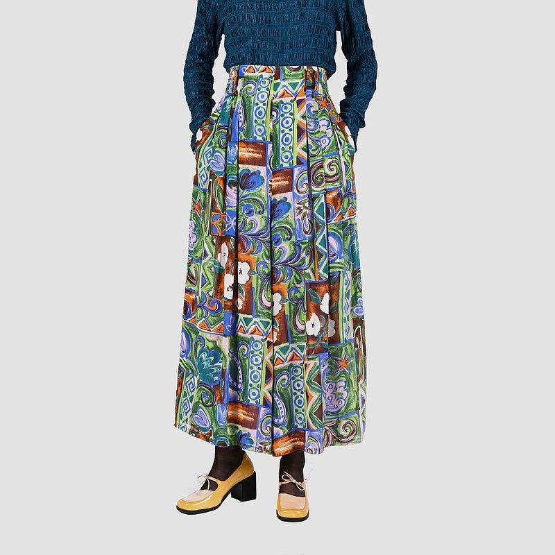 【蛋植物古著】斑斕油彩印花高腰古著寬褲裙
