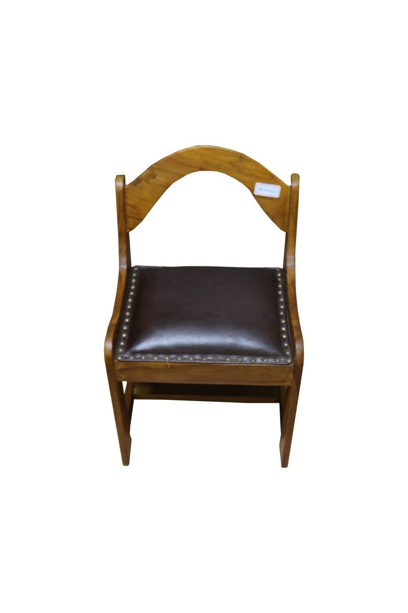JatiLiving | Teak log child chair/leather cushion child chair RPCH005SL