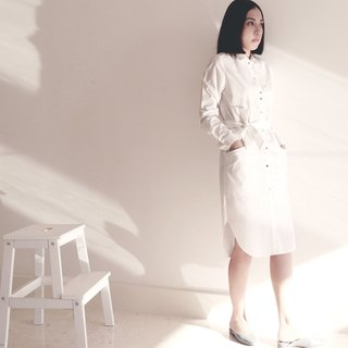 mystatice - White Long Shirt Dress/Eco-friendly material