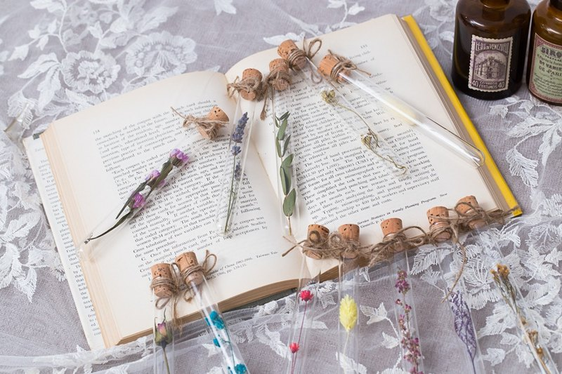 Three-flowered cat hand made floral decoration - flower language love expression dry flower glass test tube (spot) does not pick money