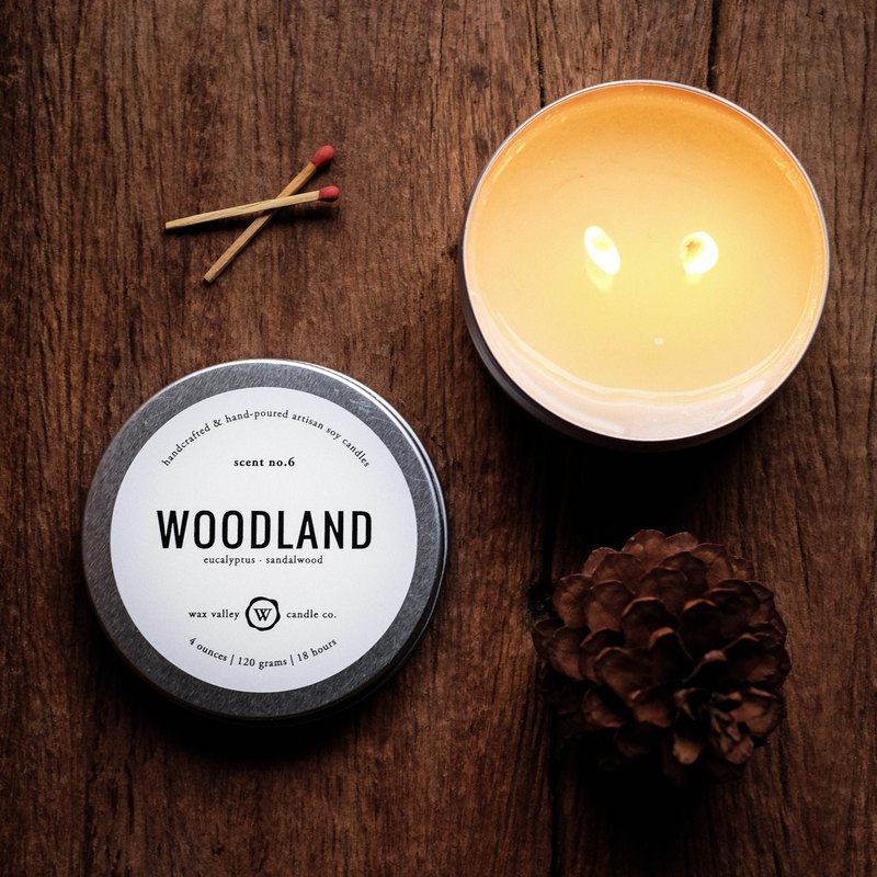 Soy Candle Woodland Blend Travel Tin - Eucalyptus & Sandalwood