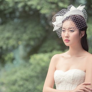 Straw pork pie hat with birdcage veil/bridal headpiece/ hair fascinator