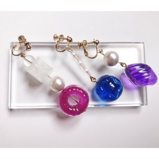 Summer transparent candy girl mix and match three earrings discount group (ear clip earrings)