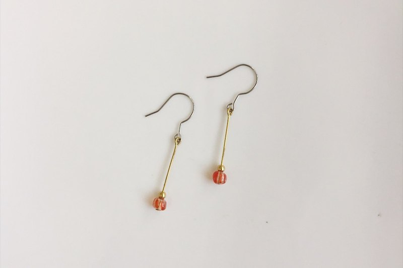 Small red striped brass earrings