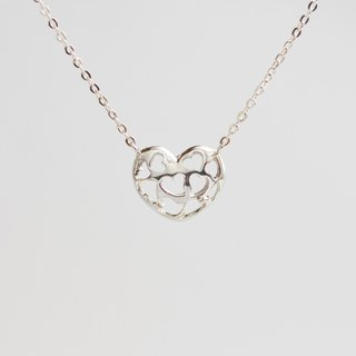 Full version of hollow love necklace hand made 925 sterling silver