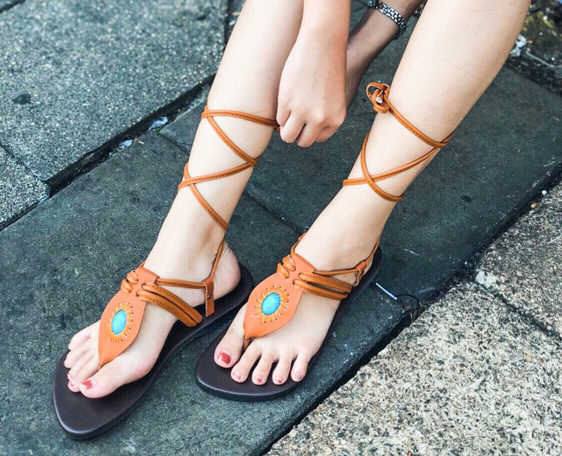 Gladiator Shoes Bohemian Leather Shoes Summer Ethnic Beach Shoes Boho Chic Shoe