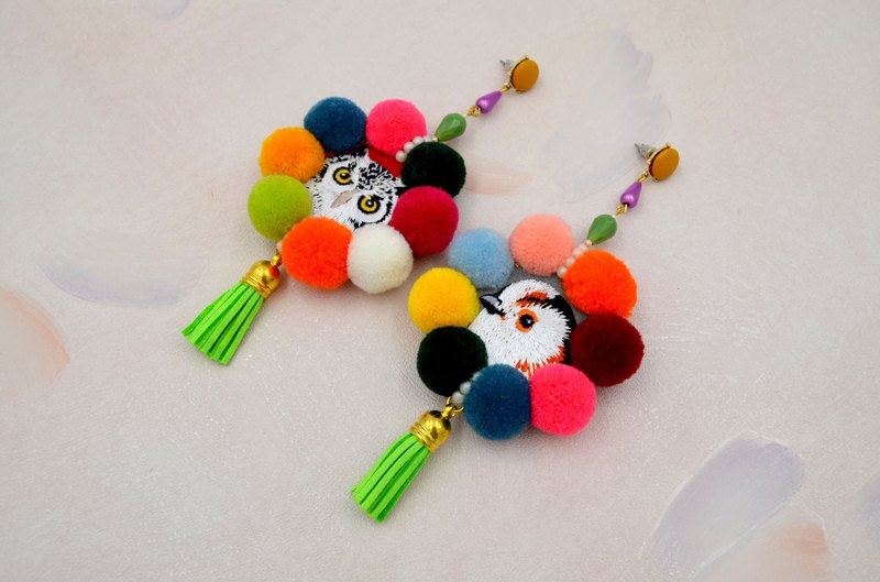 TIMBEE LO Bird Owl Embroidered Hair Ball Ribbon Tassel Earrings