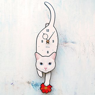 C-58 White cat(Blue eyes) - Pet's pendulum clock
