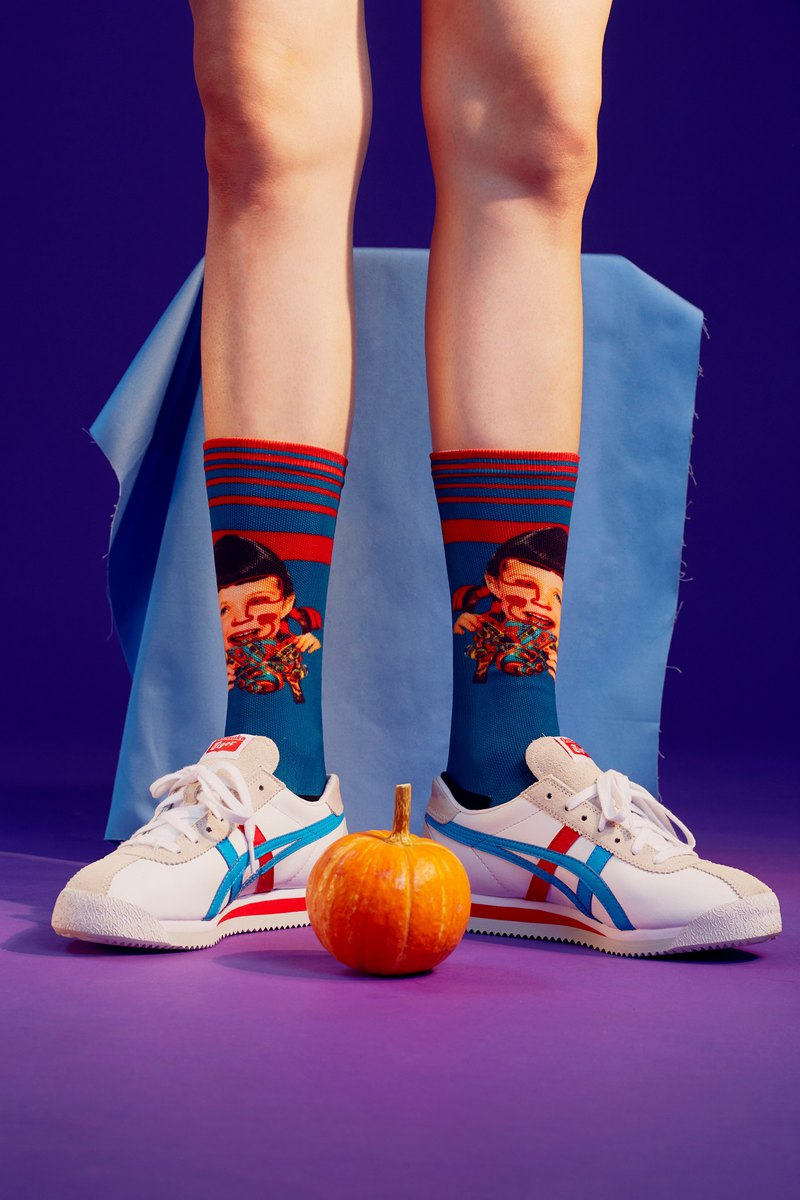 SABRINA HSIEH x LIFEBEAT sister's head joint print sports socks