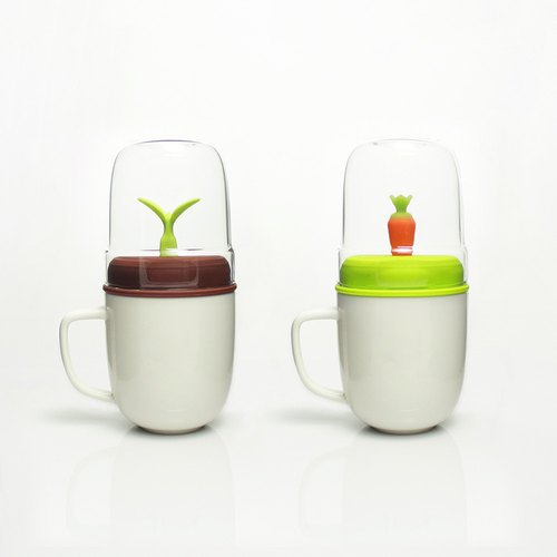 [Valentine's Day Limited] dipper 1 + + double cup group - on the cup group (carrot green - white + sprout coffee - white)