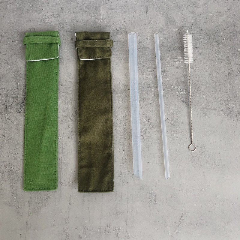 Meiji environmental protection [transparent] straw - thickness*1 + coarse brush*1 + [green] Wenqing storage bag