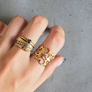 [Adjustable] number ring / brass