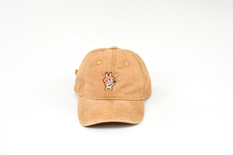 Haru Playing Ukulele / Embroidered Antique Wash Baseball Cap / Ginger Yellow