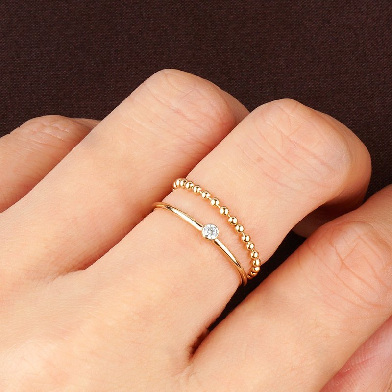 Round bead chain ring VISHI American original imported 14k bag injection gold color preservation simple joint ring ring female
