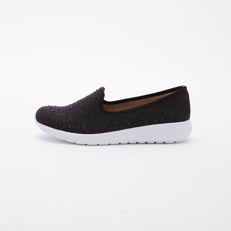 Large size women's shoes 41-45 Taiwan made hot drilling lightweight casual loafers 3.5cm black